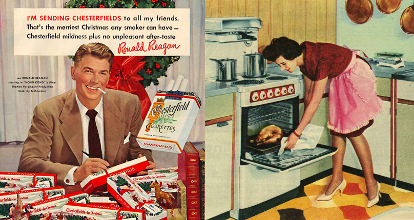 Cigarettes ad and womean cooking